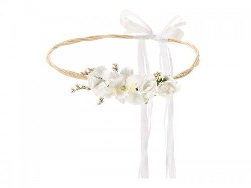 Wianek na głowę z białych kwiatów