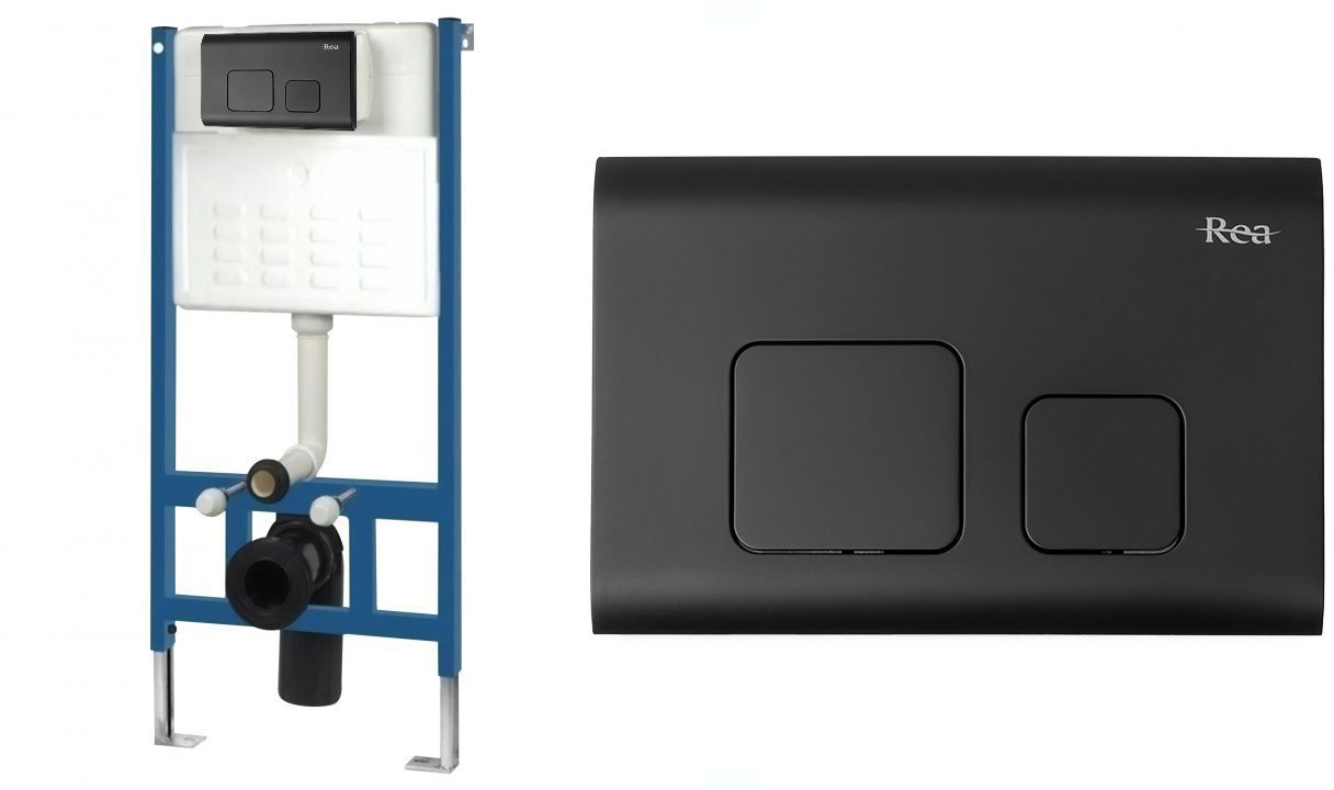 Rea Stelaż zestaw podtynkowy do mis WC z przyciskiem F Black