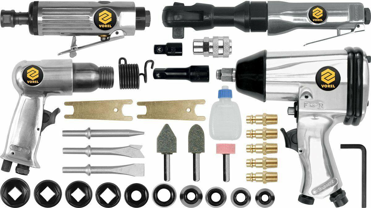 Zestaw narzędzi pneumatycznych z akcesoriami, 33 części Vorel 81142 - ZYSKAJ RABAT 30 ZŁ