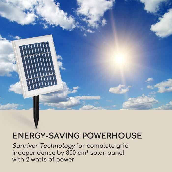 Blumfeldt Liquitorre XL Fontanna solarna 200 l/h panel solarny 2 W akumulator LED tworzywo Polyresin
