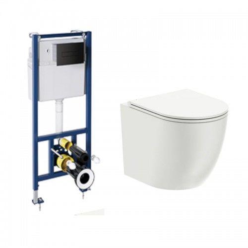 Podtynkowy zestaw :Miska WC wisząca 49x36,5x37 cm RIMLESS z deską wolnoopadającą SLIM