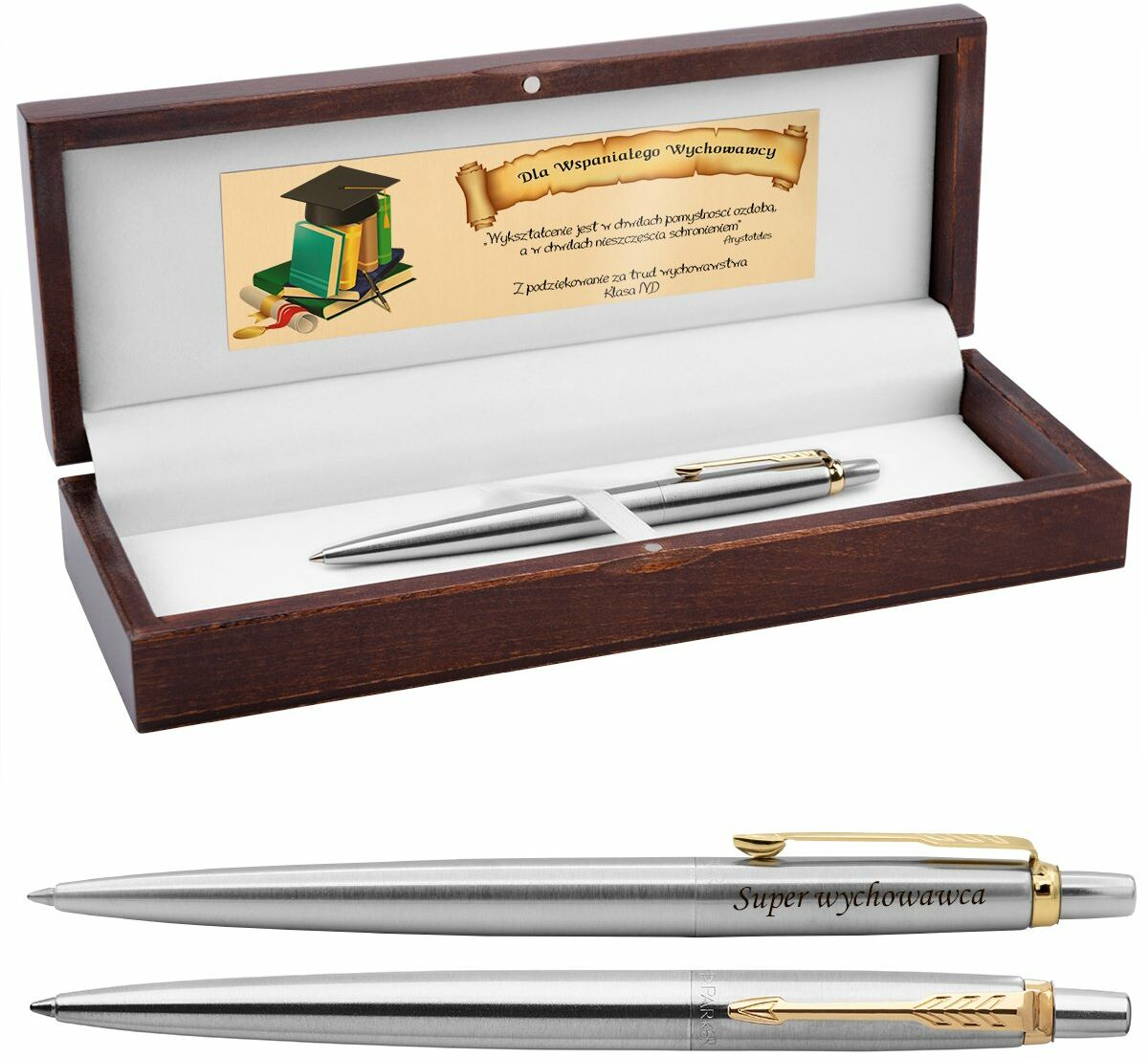 Długopis Parker Jotter stalowy GT Drewniane Pudełko Grawer