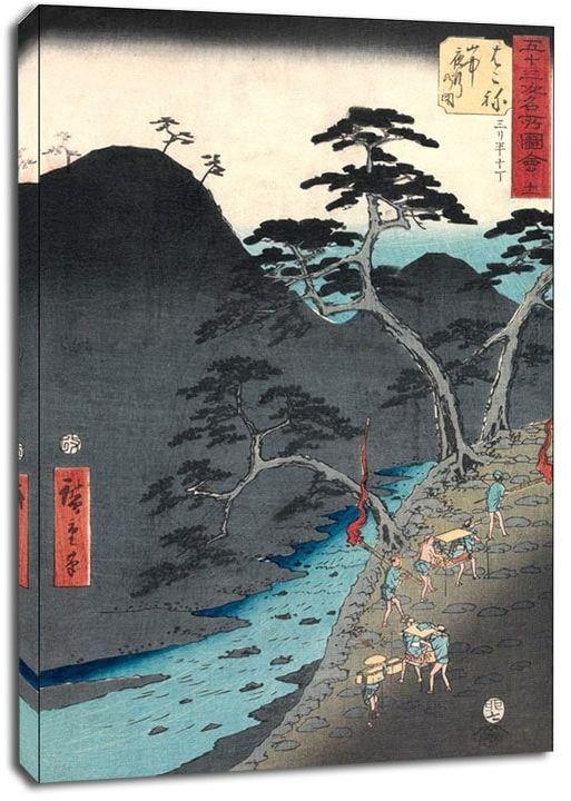 Hakone night procession in the mountains, hiroshige - obraz na płótnie wymiar do wyboru: 30x40 cm