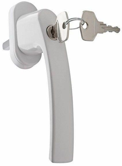 Klamka okienna z kluczykiem biała PLUTON