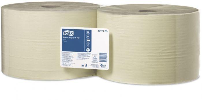 Czyściwo papierowe Tork do podstawowych zadań, jednowarstwowe żółte