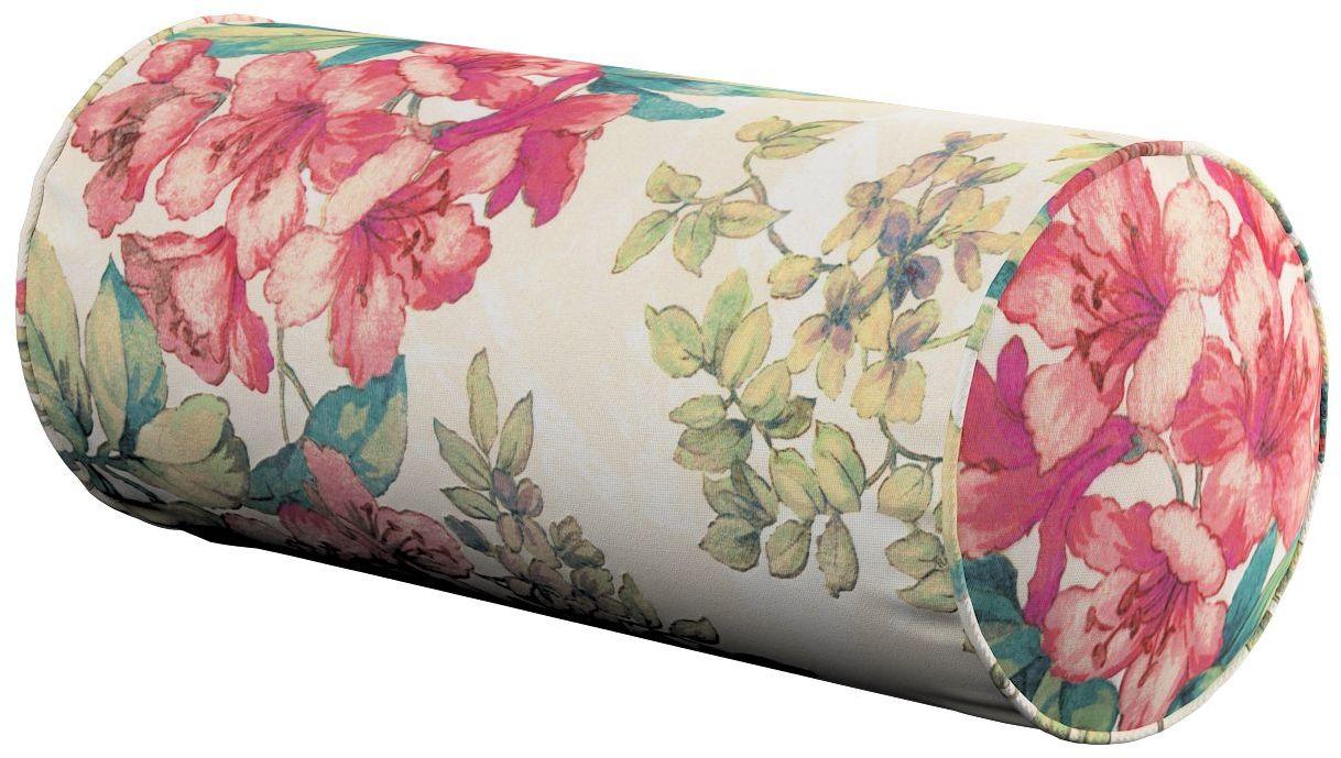 Poduszka wałek prosty, różowe kwiaty na tle ecru, Ø16  40 cm, Londres