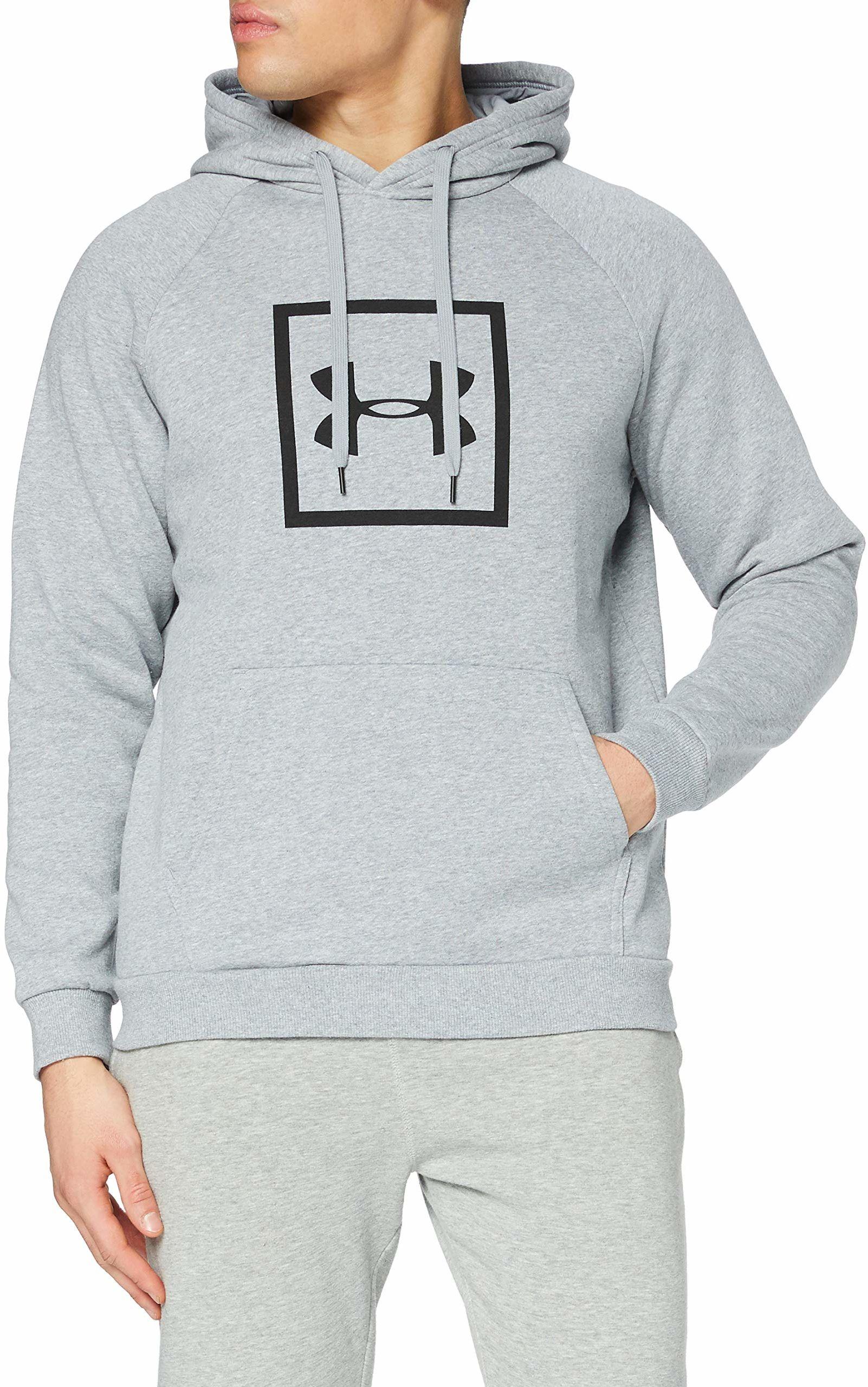 Under Armour męska rywala polarowa pudełko logo bluza z kapturem do biegania z graficznym logo, sweter z kapturem dla mężczyzn z kieszenią szary S