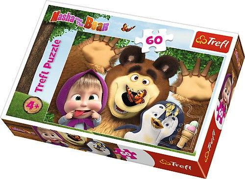 Puzzle 60 elementów - Masza i Niedźwiedź, Wesoły dzień