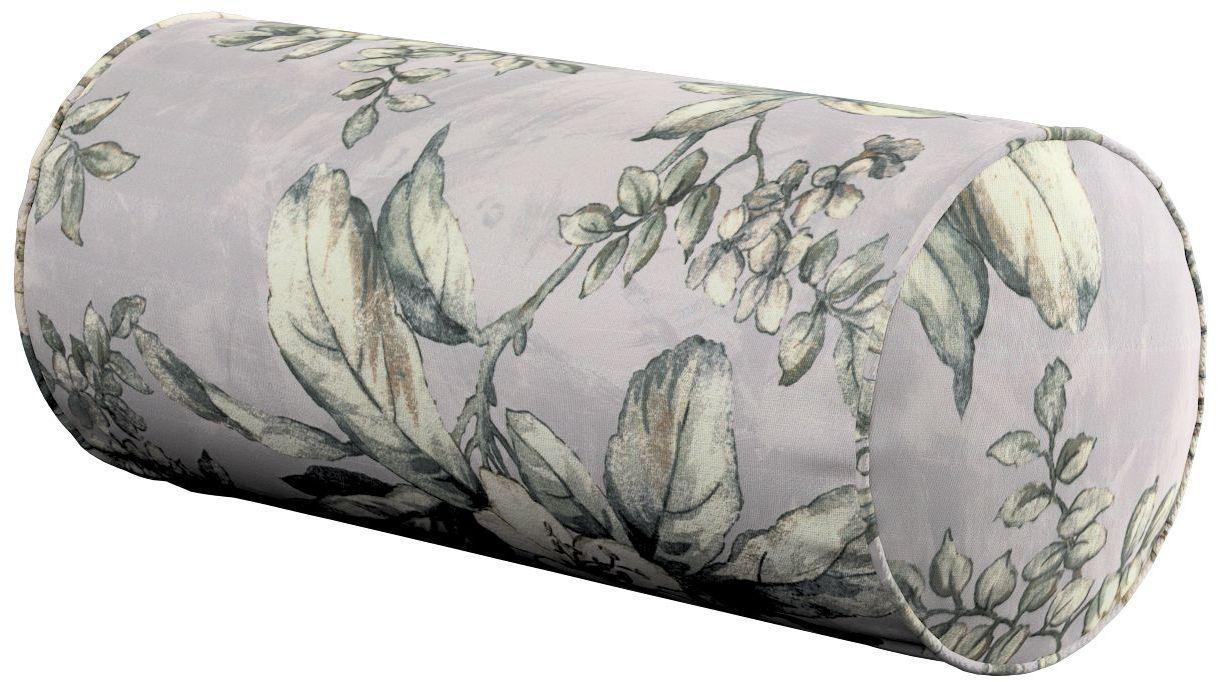 Poduszka wałek prosty, oliwkowo-beżowe kwiaty na szarym tle, Ø16  40 cm, Londres