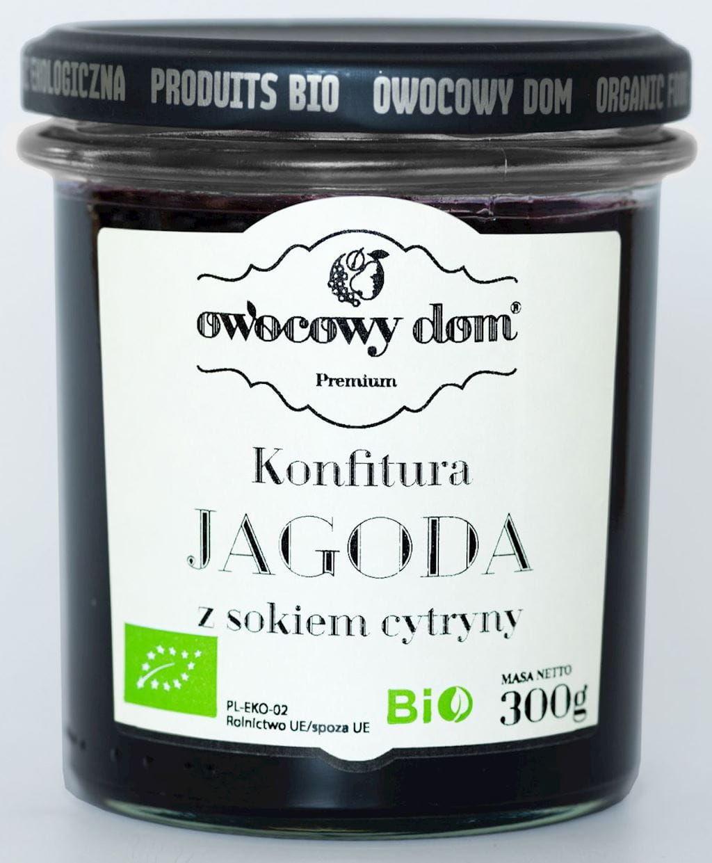 Konfitura jagoda z sokiem z cytryny bio 300 g - owocowy dom