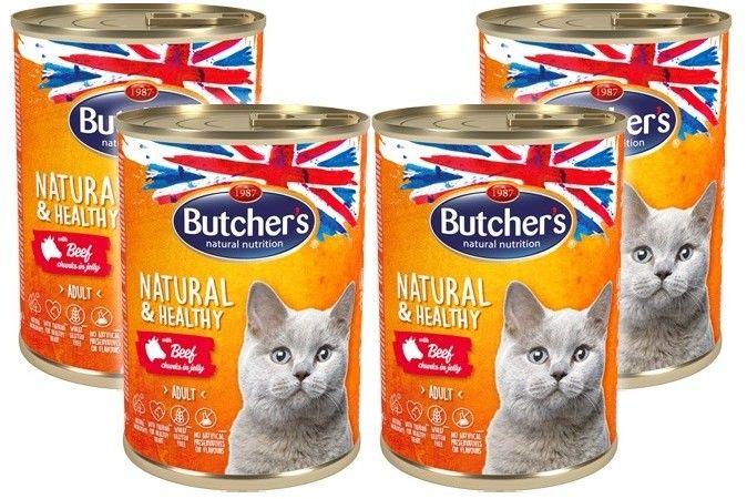 Butcher''s Natural&Healthy Cat z wołowiną kawałki w galarecie 400g x 4