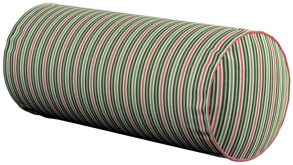 Poduszka wałek prosty, pasy w odcieniach zieleni i czerwieni, Ø16  40 cm, Londres