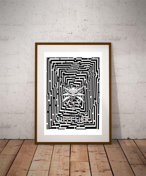 Maze gaze wiedźmin the witcher - plakat 3d wymiar do wyboru: 20x30 cm