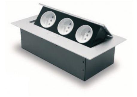 Przedłużacz biurkowy 3x230V z uziemieniem aluminium AE-PB03GU-53 GTV 7689