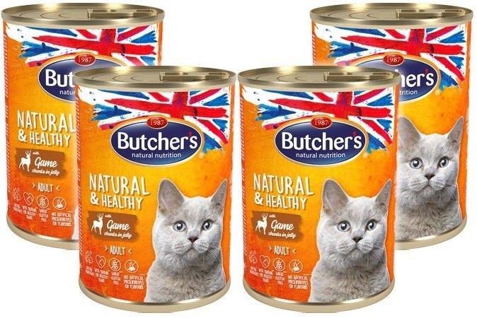 Butcher''s Natural&Healthy Cat z dziczyzną kawałki w galarecie 400g x 4