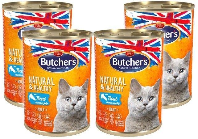 Butcher''s Natural&Healthy Cat z pstrągiem kawałki w galarecie 400g x 4