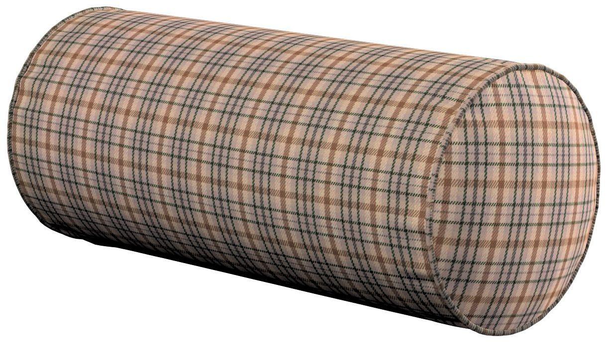 Poduszka wałek prosty, beżowo-brązowa kratka, Ø16  40 cm, Londres