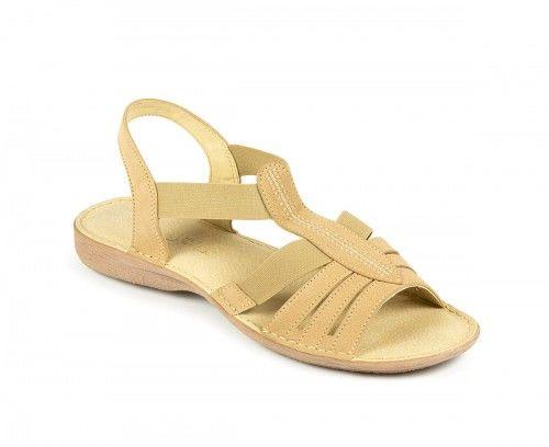 Skórzane sandały damskie na gumie - beżowe