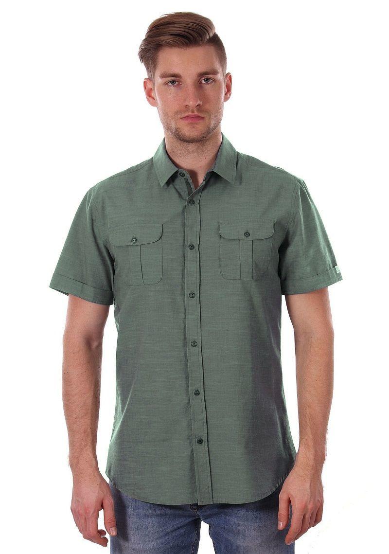 Zielona Koszula Męska, Oliwkowa 100% BAWEŁNA - JUST YUPPI, Casualowa, Krótki Rękaw, z Kieszonkami KSKCJTYUP9203kol8ZIELONY