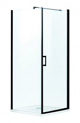 LOFT KABINA NATRYSKOWA 90x90x190 cm/5mm+brodzik SLIM 5,5 cm ,czarne profile LAGOS