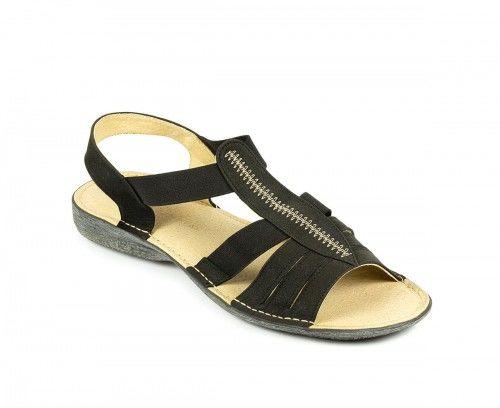 Skórzane sandały damskie na gumie - czarne nubuk