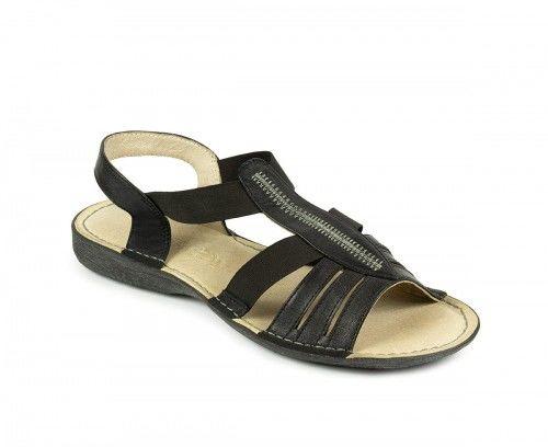 Skórzane sandały damskie na gumie - czarne skóra