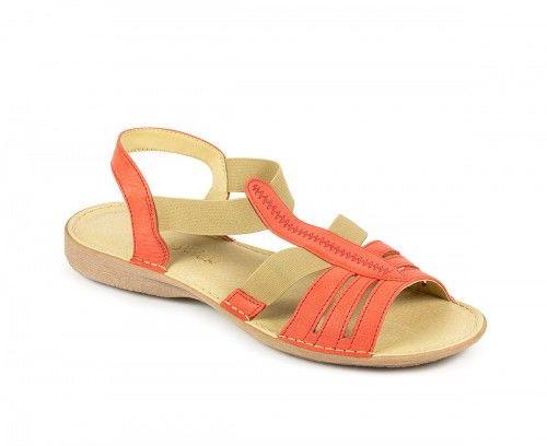 Skórzane sandały damskie na gumie - czerwone