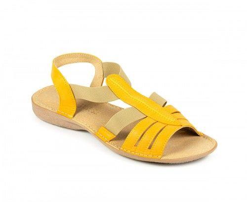 Skórzane sandały damskie na gumie - żółte