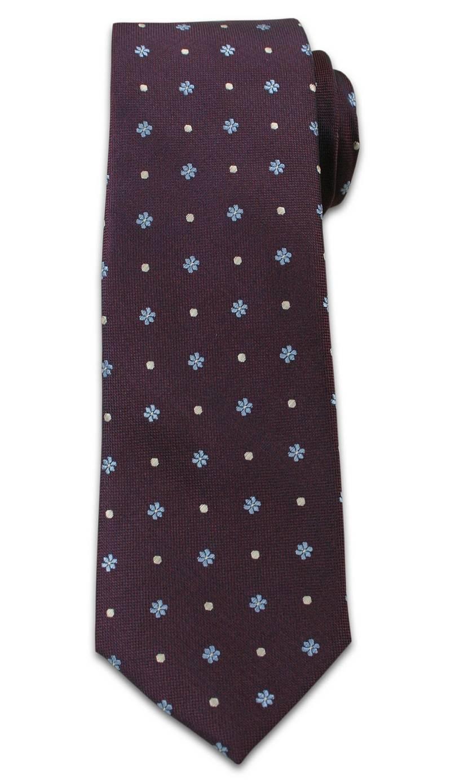 Casualowy Krawat Męski w Kropki i Kwiatki -6,5cm- Chattier, Kolorowy KRCH0944