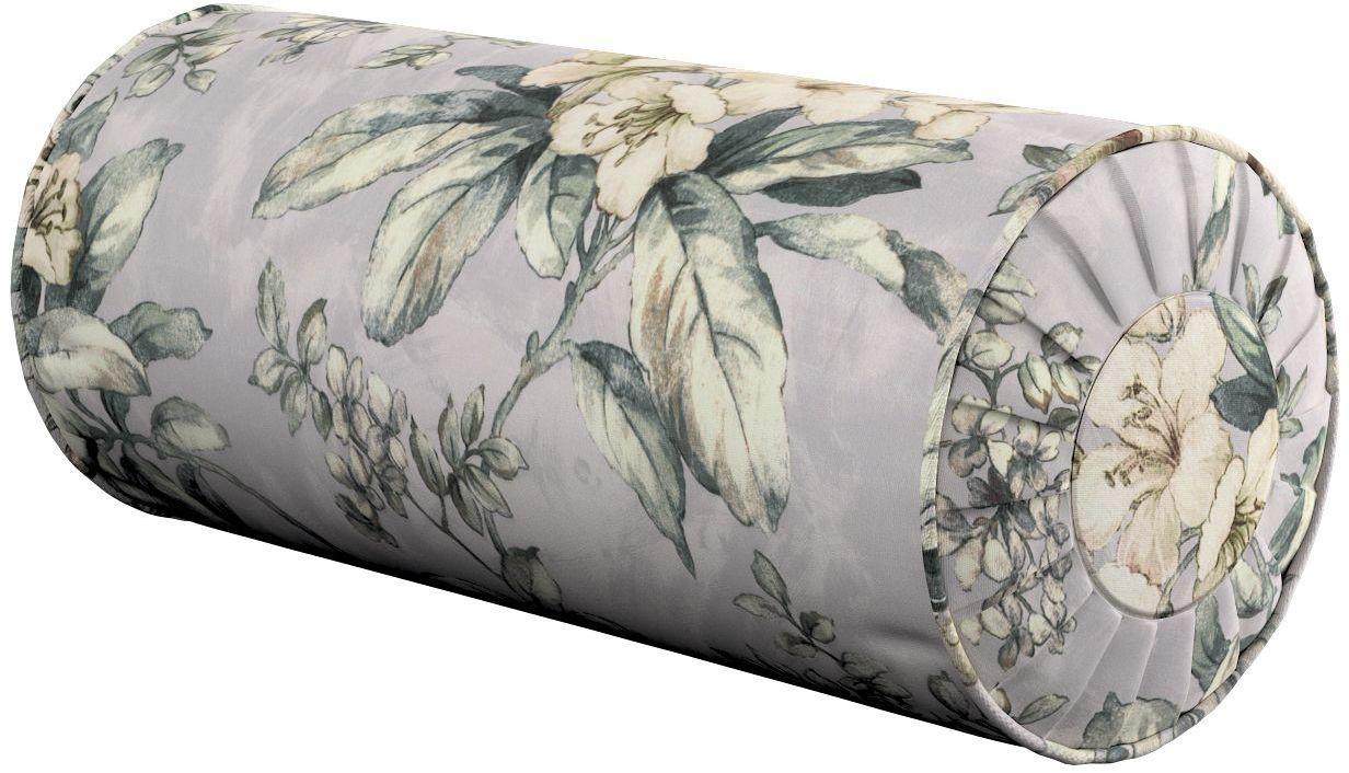 Poduszka wałek z zakładkami, oliwkowo-beżowe kwiaty na szarym tle, Ø20  50 cm, Londres