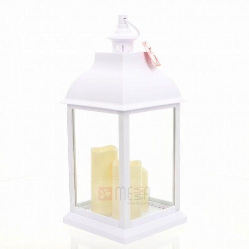 LATARNIA Z ŚWIECĄ LED Lampion ŚWIECZNIK Znicz BIAŁY wys. 54 cm