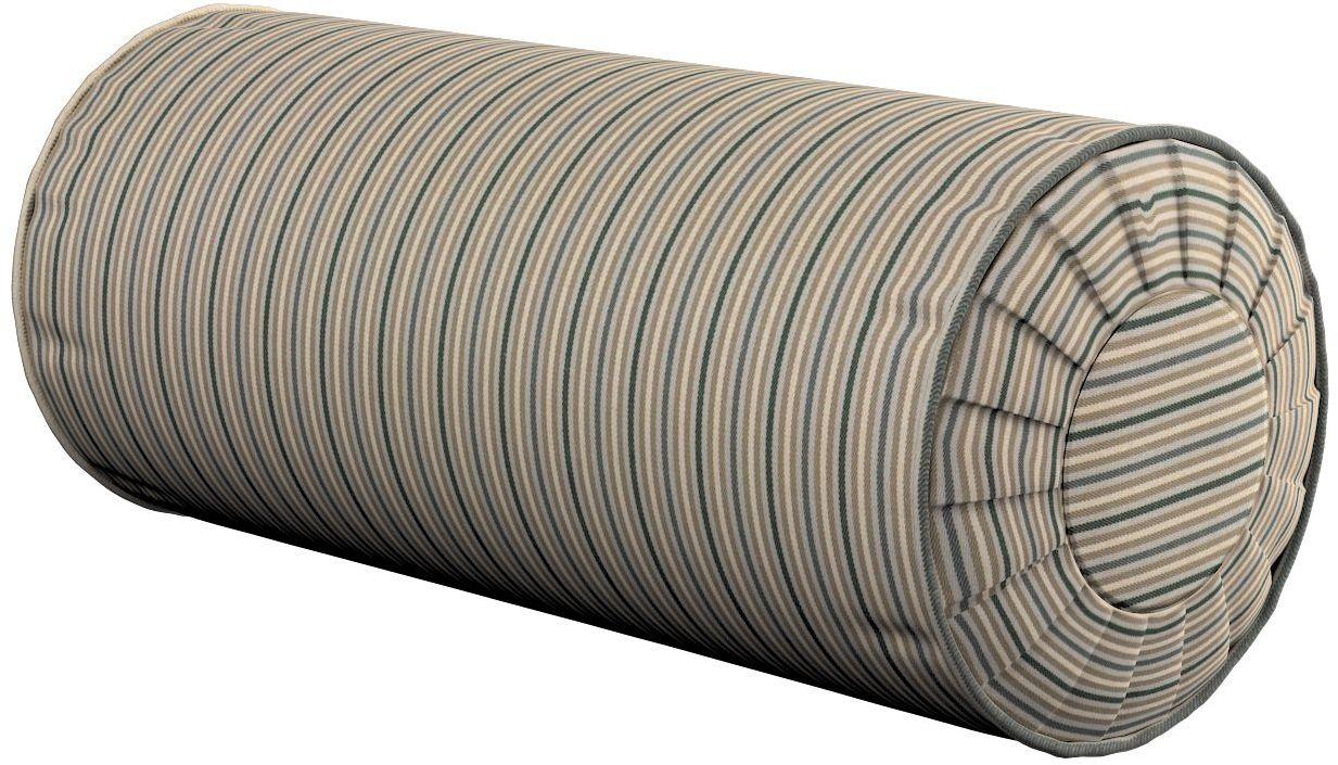 Poduszka wałek z zakładkami, oliwkowo-beżowe pasy, Ø20  50 cm, Londres