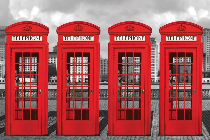Londyn czerwone budki telefoniczne - plakat