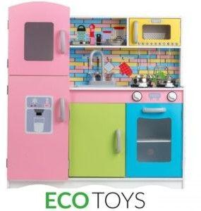 ECOTOYS Drewniana kuchnia dla dzieci z wyposażeniem TK038 (MUL-TK038)