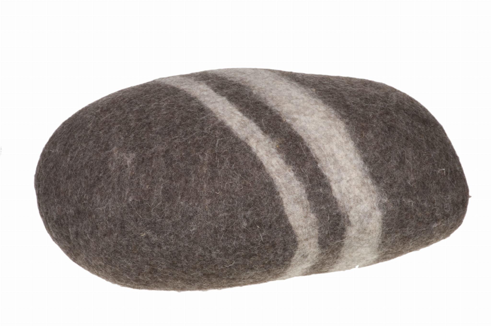 Pufa Kamień Brązowy duży z wełny