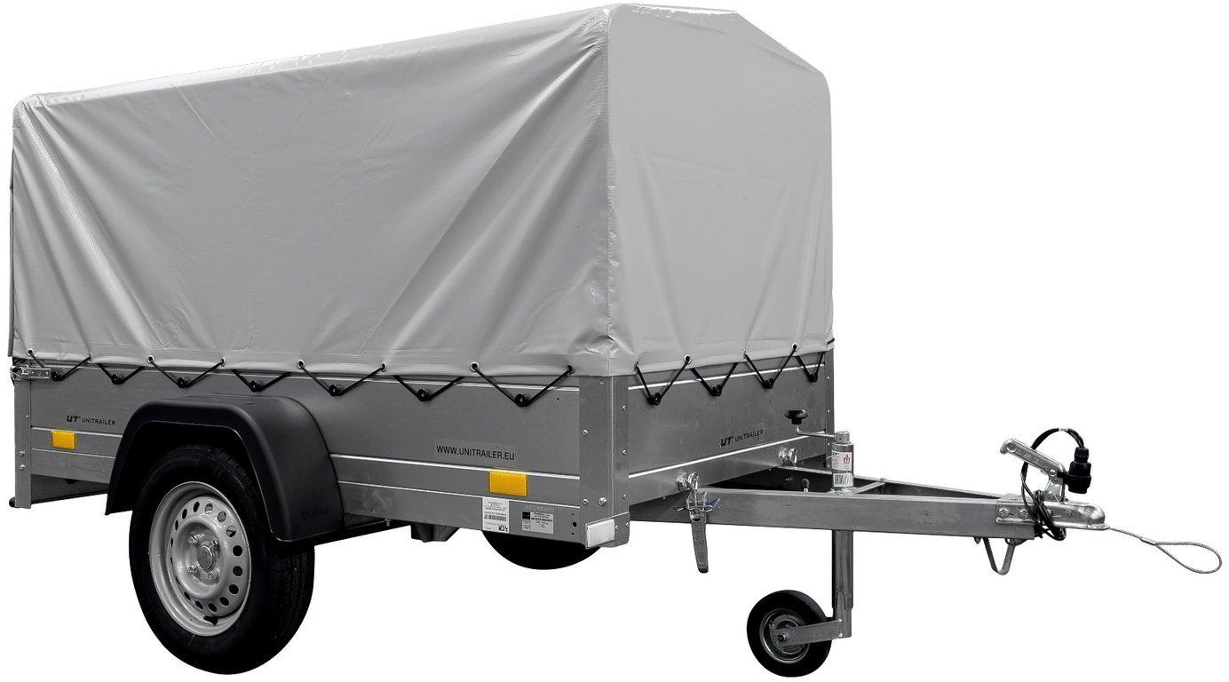 Przyczepka samochodowa lekka 200 x 106 z szarą plandeką, stelażem i kołem podporowym DMC 750 KG Garden Trailer 200 KIPP
