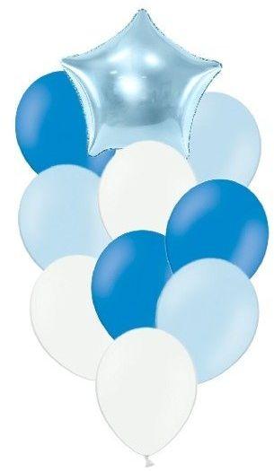 Zestaw balonów słupek niebieskie i białe 10 sztuk SL1