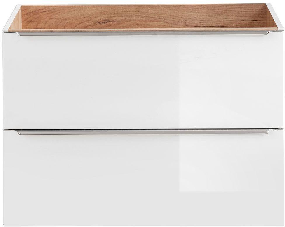 Podwieszana szafka łazienkowa pod umywalkę - Malta 3X Biały połysk 80 cm