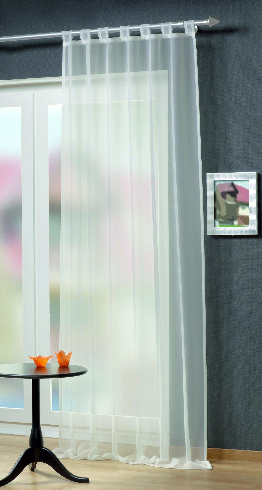 Home fashion zasłona ze szlufkami Uni woal, poliester, biała, 245 x 140 cm