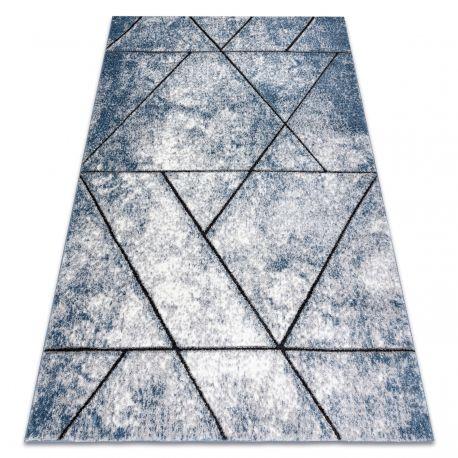Dywan nowoczesny COZY 8872 Wall, geometryczny, trójkąty - Strukturalny, dwa poziomy runa niebieski 80x150 cm