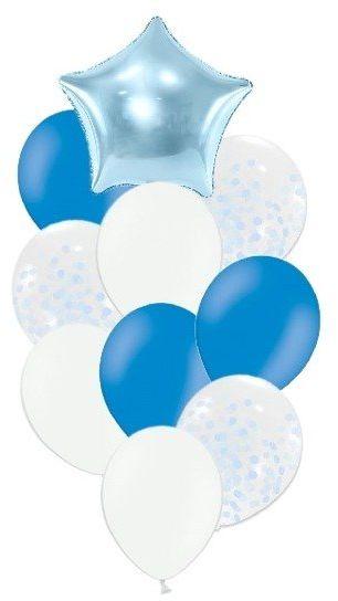 Zestaw balonów słupek niebieskie i białe 10 sztuk SL3