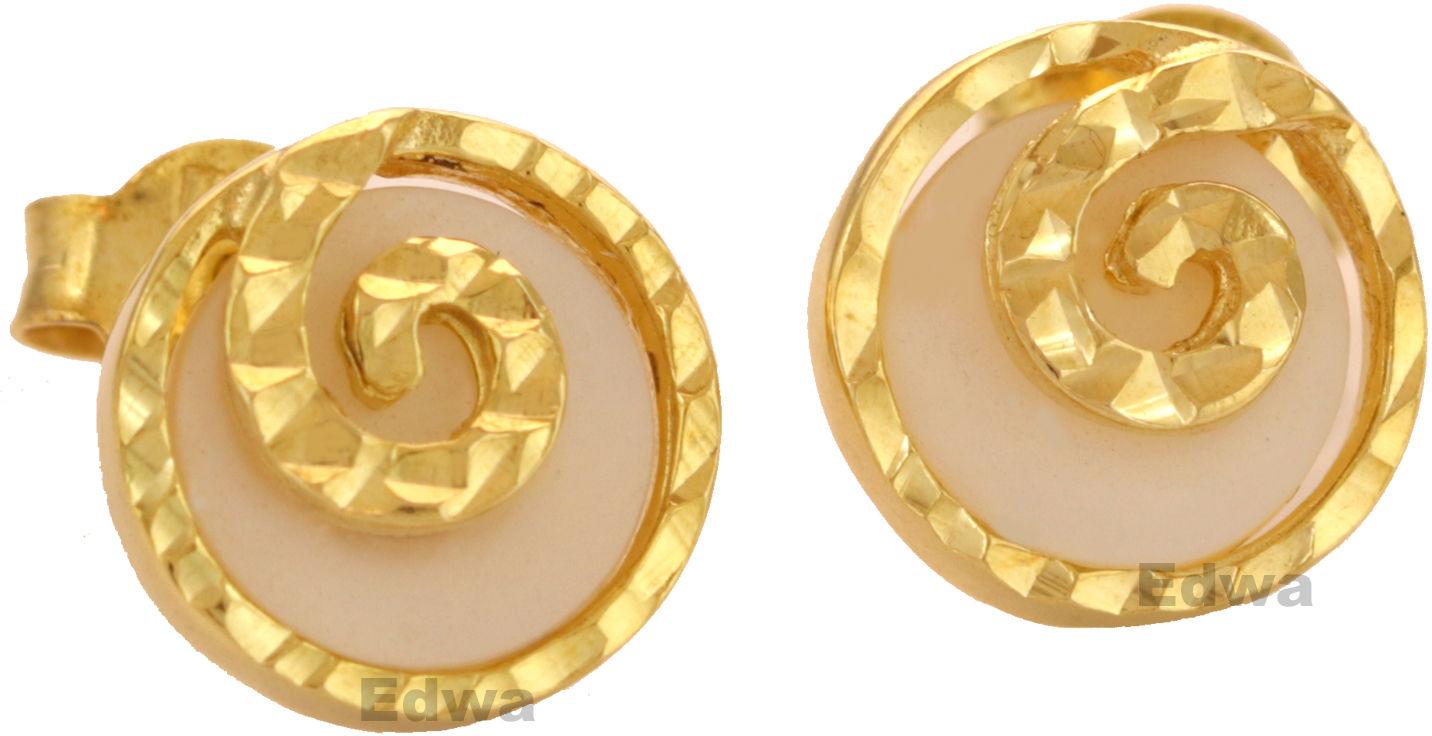 Kolczyki złote z masą perłową pr.585