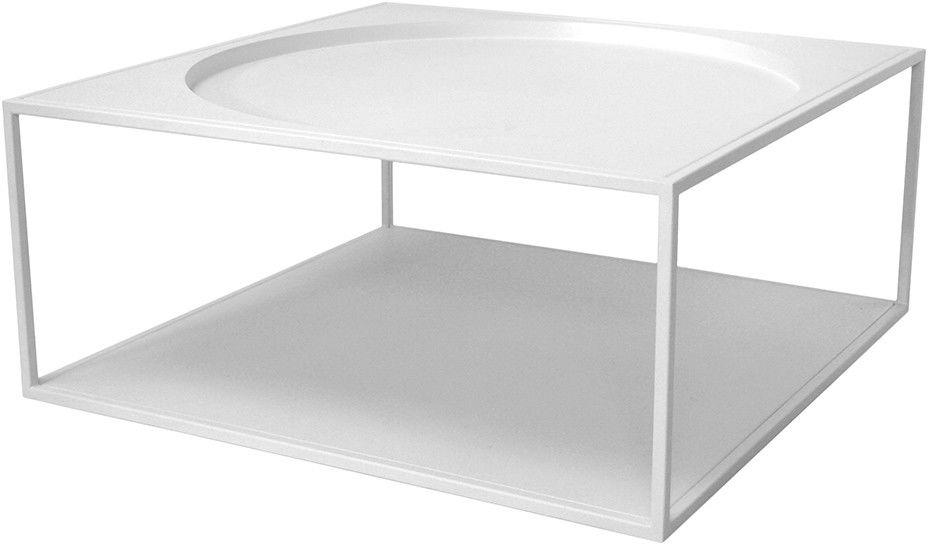 Stolik kawowy biały FUR0010 HK Living minimalistyczny kwadratowy stolik z metalu