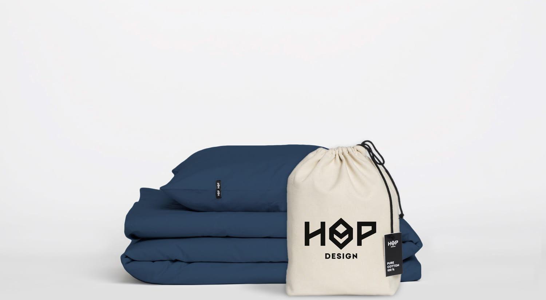 Pościel Perkal 240x220 Hop Design Pure Granatowy
