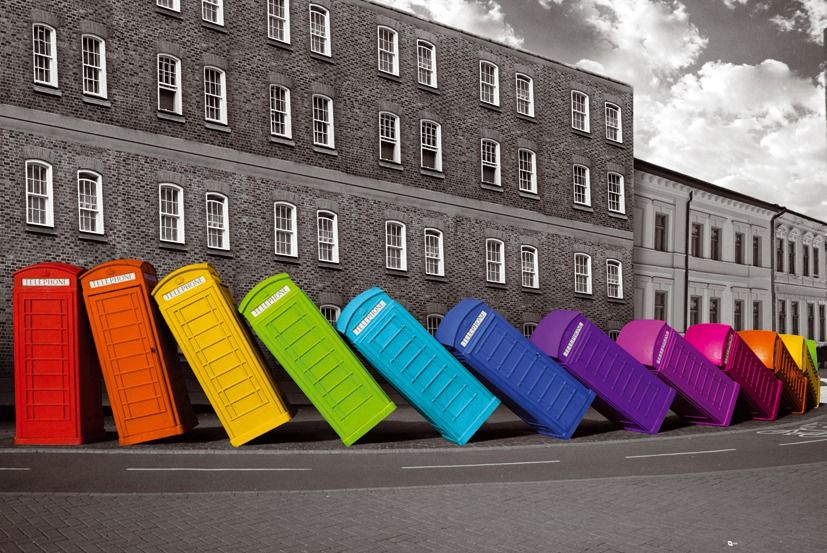 Londyn budki telefoniczne domino - plakat