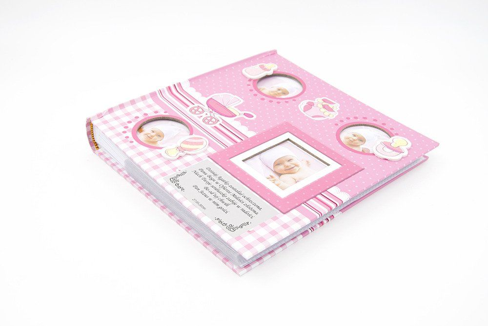 Album Różowy butekla,buciki, smoczek, wózek i grzechotka 10 x15 prezent na chrzest z grawerem