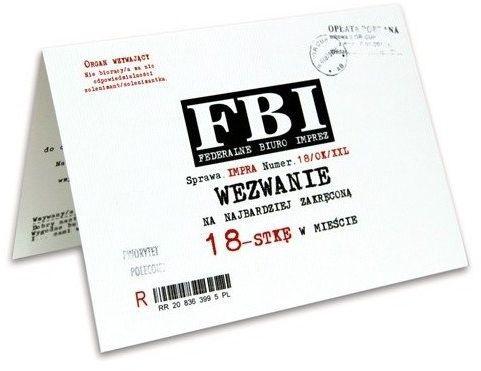 Zaproszenia na 18 urodziny FBI 10 sztuk ZX8200-10