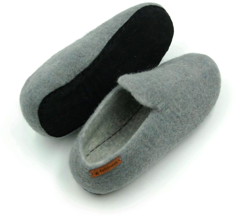 Papucie Popielate - pantofle z wełny z podeszwą