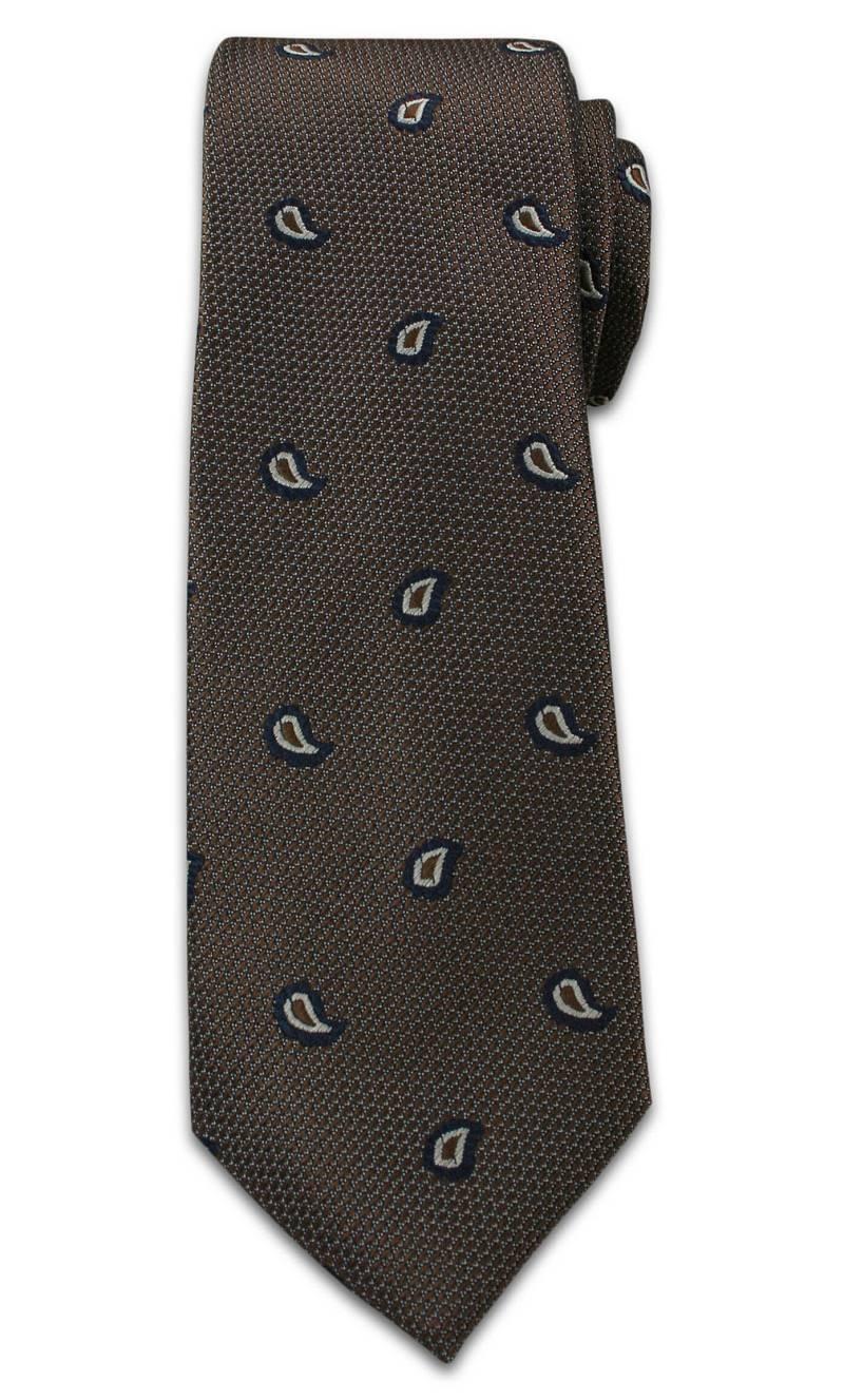 Elegancki Krawat Męski, Wzór Paisley, Nerka, Łezka - Chattier, Brązowy KRCH0942