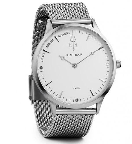 Zegarek damski KING HOON na srebrnej bransolecie - biała tarcza
